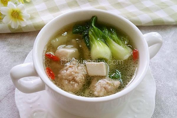 青菜肉丸豆腐汤