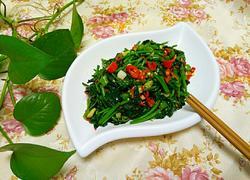 青红椒炒番薯叶
