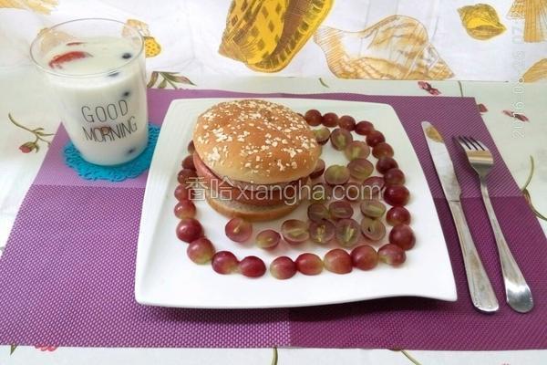 番茄鸡蛋火腿汉堡包