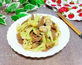 肉丝草菇炒花菜