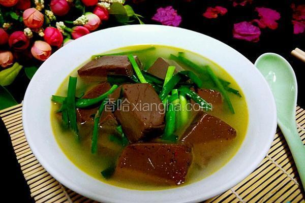 猪血韭菜汤