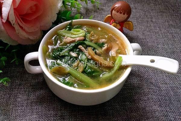 青菜榨菜肉丝汤