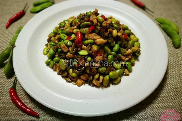 酸菜肉丁炒毛豆