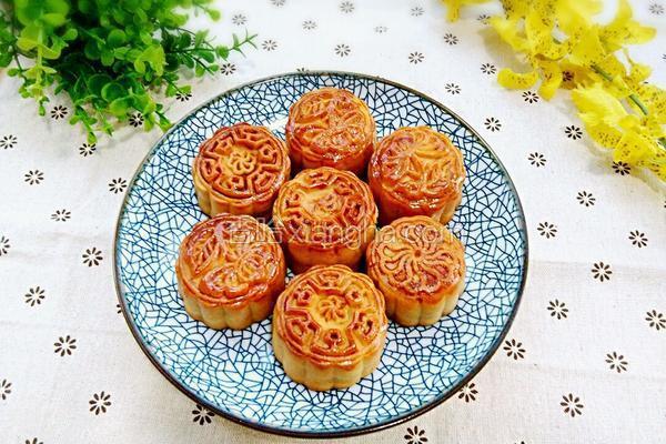 紫薯核桃豆沙馅月饼