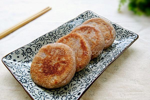 奶香紫薯馅红豆渣饼