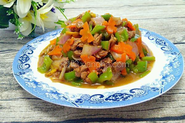 牛肉炒三蔬