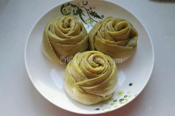 玫瑰花肉馒头(抹茶)
