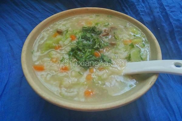 蔬菜猪肝粥