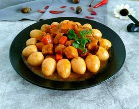 香其酱炖鸡胸肉鹌鹑蛋[图]