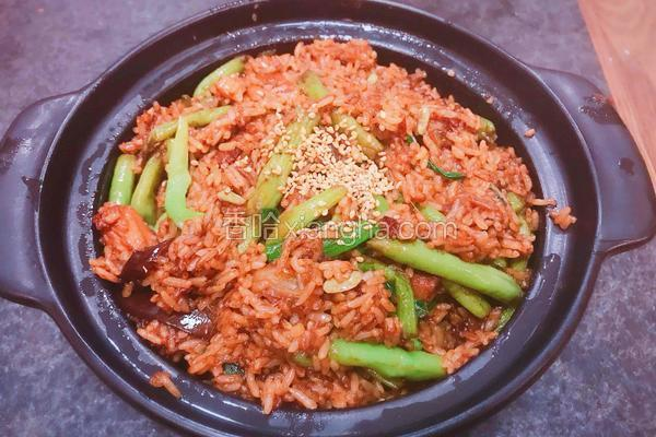 茄子豆角五花肉焖饭