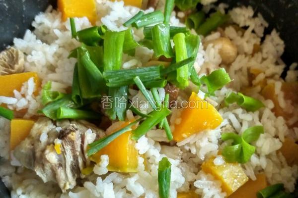 鸡肉南瓜冬菇蒸饭