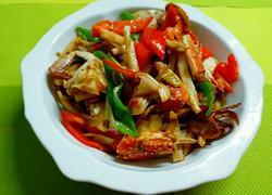 香辣梭子蟹炒藕条