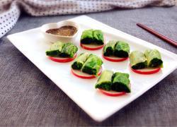 蒸鱼豉油菠菜卷