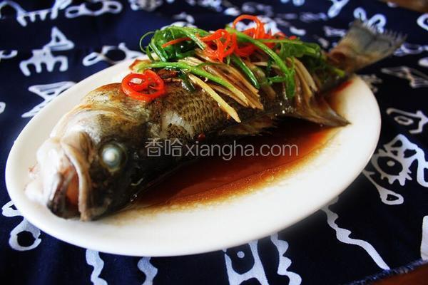 黄豆酱豉油蒸鲈鱼