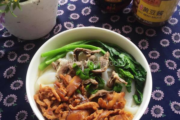 肉丝香菇捞河粉