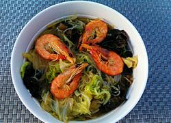 白菜叶鲜虾粉丝煲