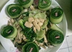 鸡肉蘑菇炒青菜