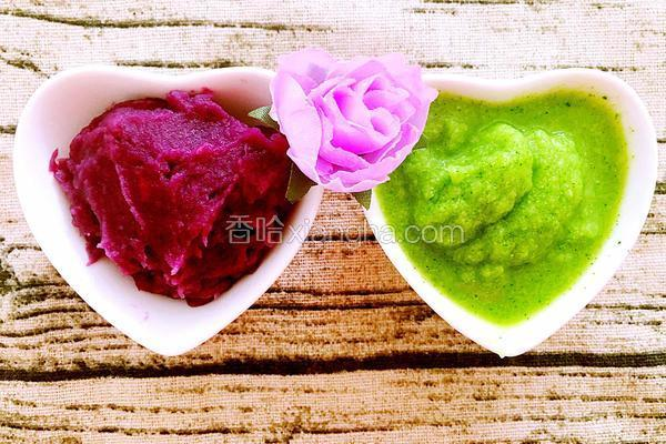 西兰花紫薯泥辅食