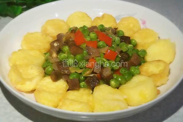 玉子豆腐酿腊香青豆