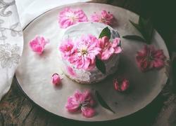 简单免打发的 桃花香草裸蛋糕