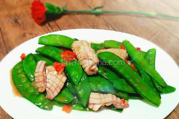 虾酱荷兰豆炒鲜鱿