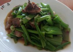 老屋私房菜肉炒菠菜梗