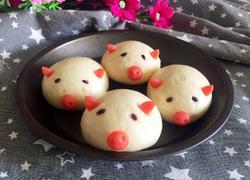 小猪香肠馒头(一次发酵法)