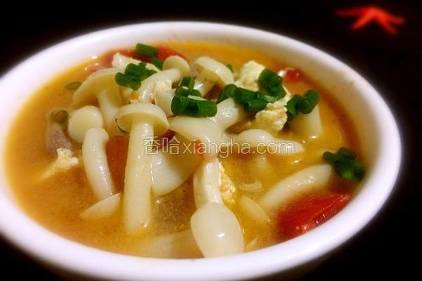 白玉菇猪肝番茄鸡蛋汤