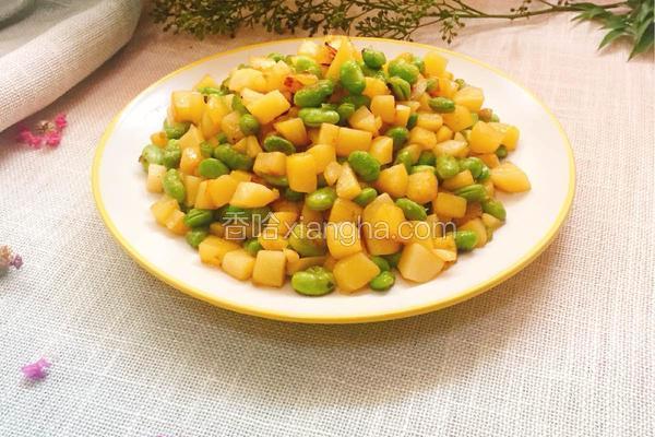 土豆丁炒毛豆子