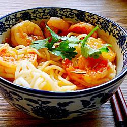 茄汁虾仁拌面