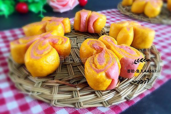 彩色蝴蝶花卷
