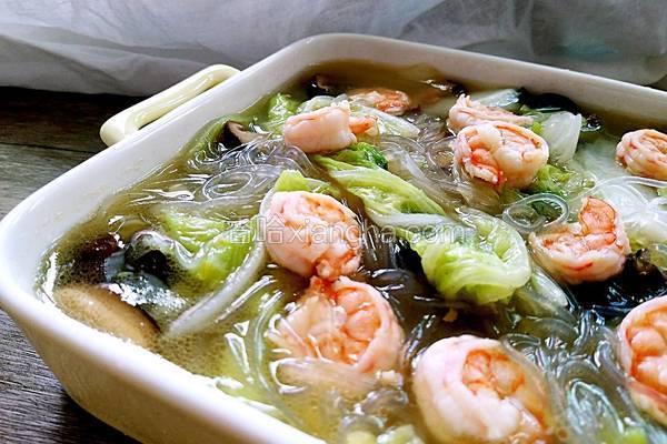 白菜粉丝烩虾仁