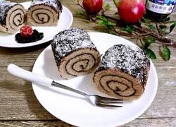蓝莓酱椰蓉蛋糕卷