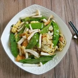 荷兰豆鲜菇炒