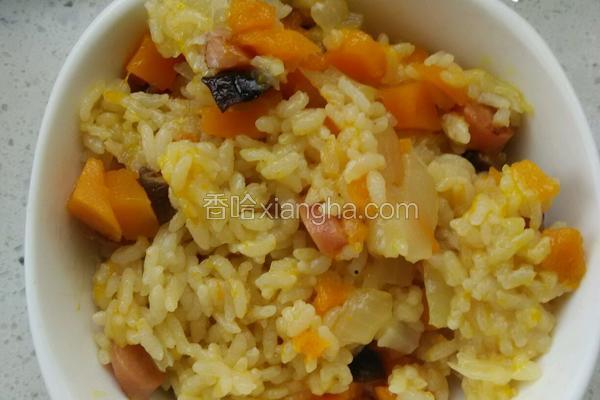 南瓜腊肠香菇洋葱大米饭