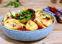 酸菜鲜虾冻豆腐