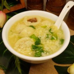 生菜鱼丸粥