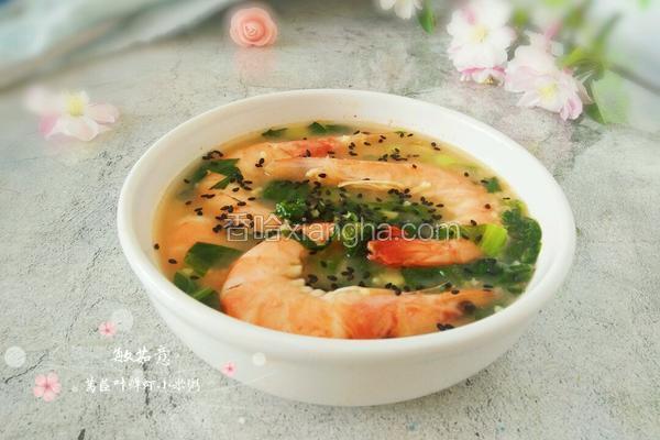 莴苣叶鲜虾米汤