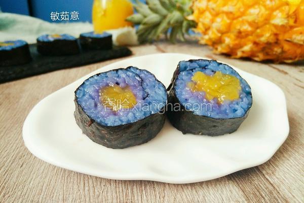 蝶豆花菠萝寿司