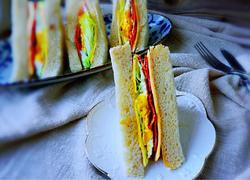 萨拉米风干肠三明治