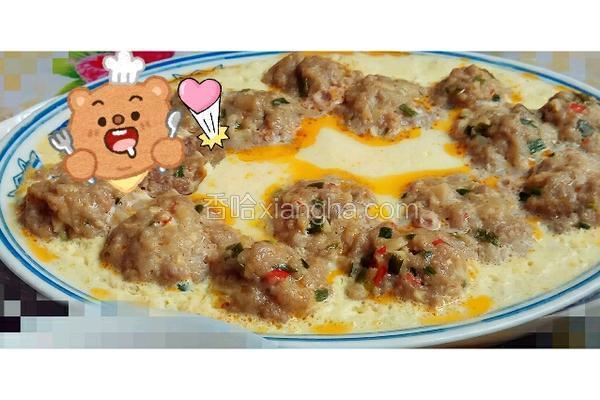 葱末肉丸蒸蛋