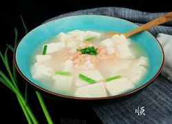 蒜苗豆腐大虾汤