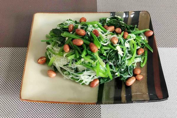 芥末拌菠菜粉丝花生