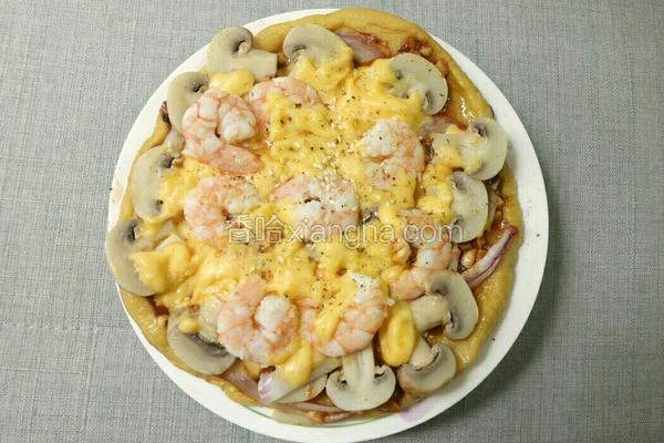 平底锅蘑菇鲜虾披萨