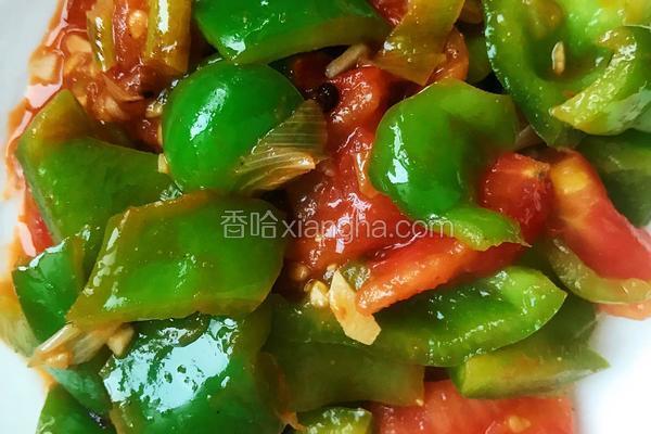 家常菜椒炒番茄