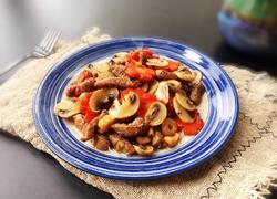 黑椒牛排炒蘑菇