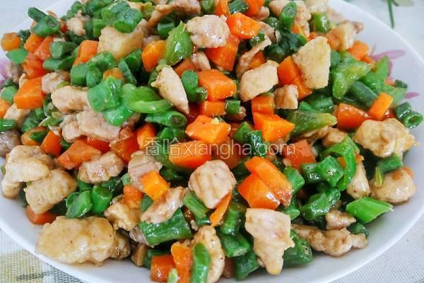 豆角胡萝卜炒肉丁
