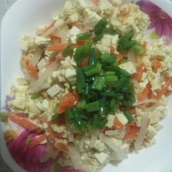 蛋香豆腐焖双丝的做法[图]