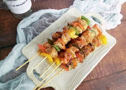 平底锅版彩椒鸡肉串