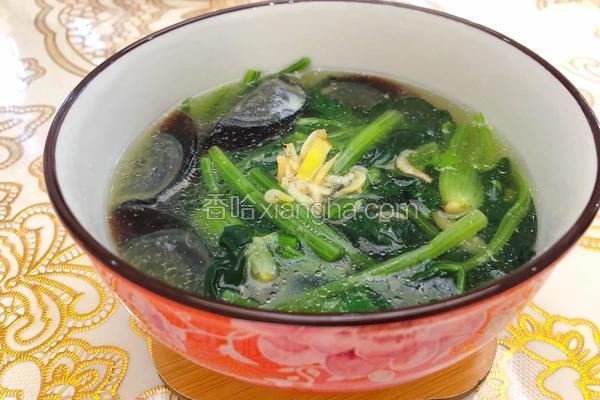 皮蛋虾皮菠菜汤